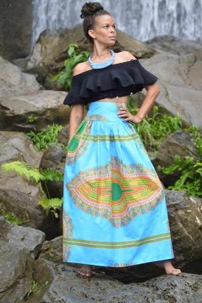 Dashiki High Waist Belted Skirt