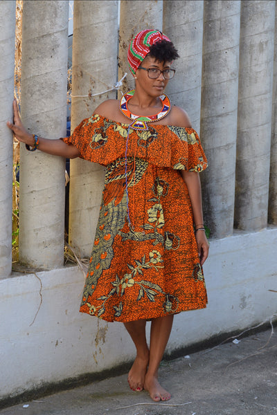 Tausi Kitenge - Off shoulder dress