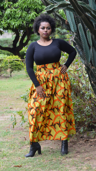 Kipepeo (Butterfly) Kitenge High Waist Belted Skirt