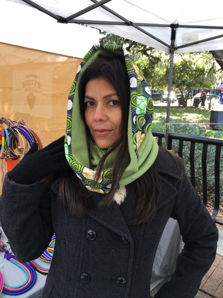 African Print Infinity Scarf (Green)