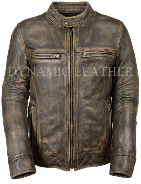 FIGHT CLUB FC RED MOTOR BIKER STYLISH REAL LEATHER JACKET BNWT