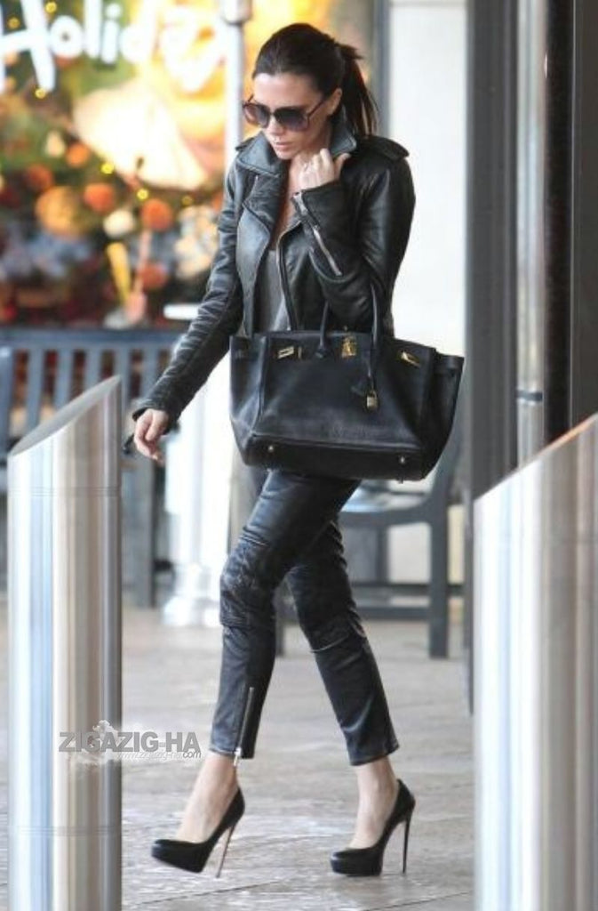 Victoria Beckham Womens Black Biker Motorcycle Slimfit Leather Jacket-BNWT
