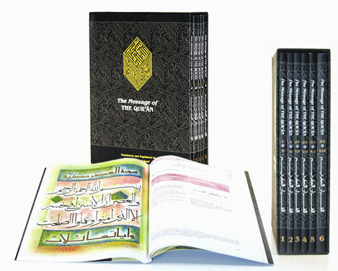 SIX VOLUME SOFTCOVER EDITION. THE MESSAGE OF THE QURAN. Arabic Text, English Translation & Transliteration by MUHAMMAD ASAD. Comes with a Hard Travel box. This lightweight edition is easier to hold & read.