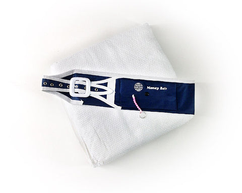 SET Of TWO IHRAM TOWELS with MONEY BELT  . Towel Size about  44 x 90 inches. Belt suitable for waist size 33 to 43 inches