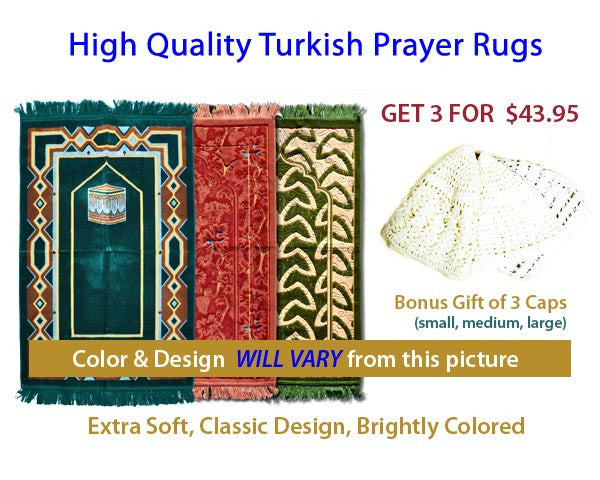 SET of 3 TURKISH PRAYER RUGS. HIGH QUALITY. EXTRA SOFT & LONG LASTING. Size 44 x 27 inches. COLOR & DESIGN WILL BE DIFFERENT from the picture.