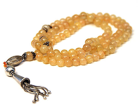 YELLOW OYNX. TASBIH. 99 BEADS. ANTIQUE STYLE.  Handcrafted from Semi Precious Gem Stones.
