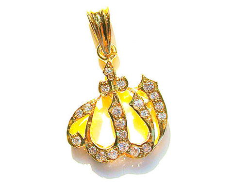 A BEAUTIFUL 'ALLAH' PENDANT HAND CRAFTED FROM STERLING SILVER  AND STUDDED WITH ZIRCON STONES. SPECIAL RHODIUM GOLD PLATING FOR A DURABLE, EXTRA LONG LIFE FINISH.