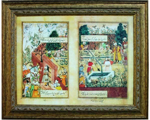 Emperor Babur Supervising the Laying Out of the Garden of Fidelity.  Digitally Enhanced Reproduction of a Museum Quality Masterpiece. JUMBO Faux Canvas Frame. Overall Size 40 x 30 inches .