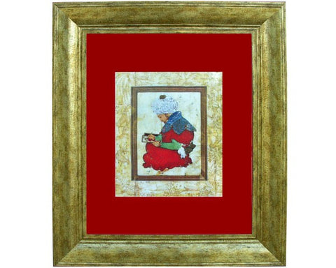 Portrait of a Painter. Mughal India. Early 17th Century.  Digitally Enhanced Reproduction of a Museum Quality Masterpiece. Faux Canvas Frame. Overall Size 22 x 28 inches.