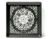 CHARCOAL GREY STONEWARE  Plate  - HAND ENGRAVED with Quran Surah 112.  Overall Size 10 x 10 inches