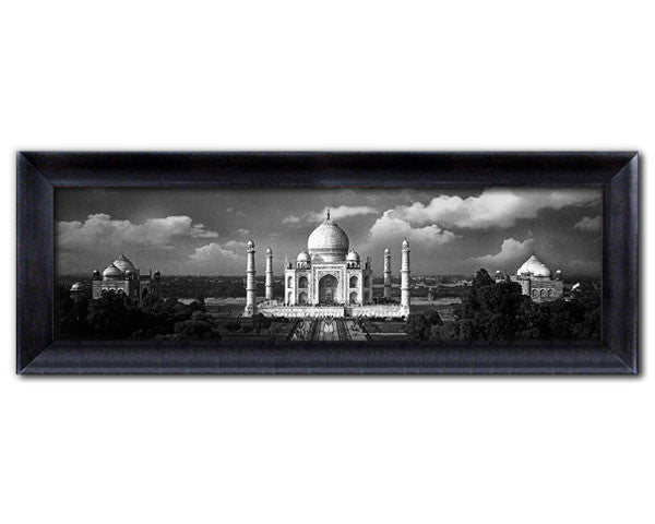 Faux Canvas Frame. Panoramic View of the world famous Taj Mahal on a Cloudy Day.   Jumbo Frame. Overall Size 38 x 13 inches