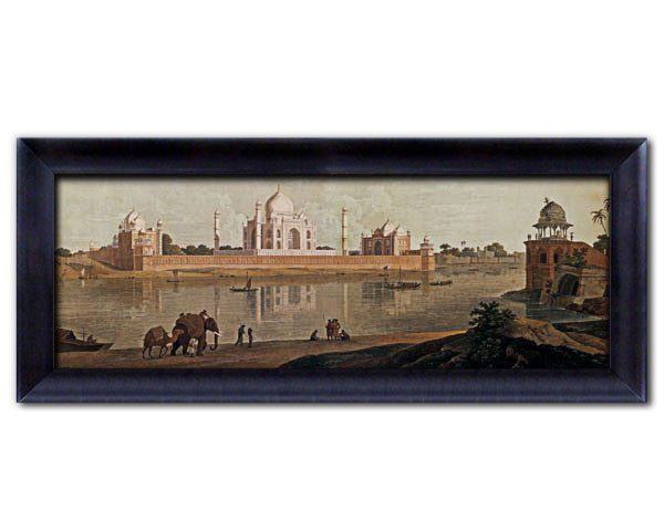 Digitally Enhanced Faux Canvas Frame. Taj Mahal Viewed from Across the River.   Jumbo Frame. Overall Size 37 x 14 inches