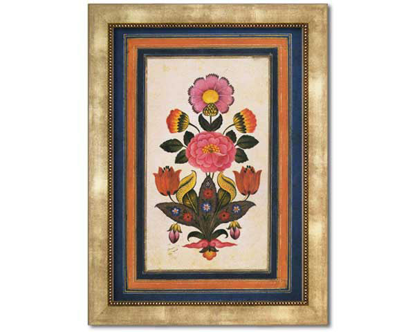 Fantasy Flowers. Reproduction of an antique painting from Safavid Iran.  Faux Canvas Frame. Overall Frame Size 24  x 19 inches.