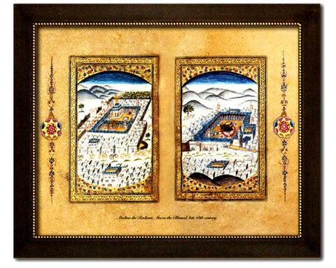 Miniature painting of Mecca and Medina. Reproduction of an antique painting from Ottoman Turkey. Faux Canvas Frame. Overall Frame Size 24.5 x 20.5 inches.