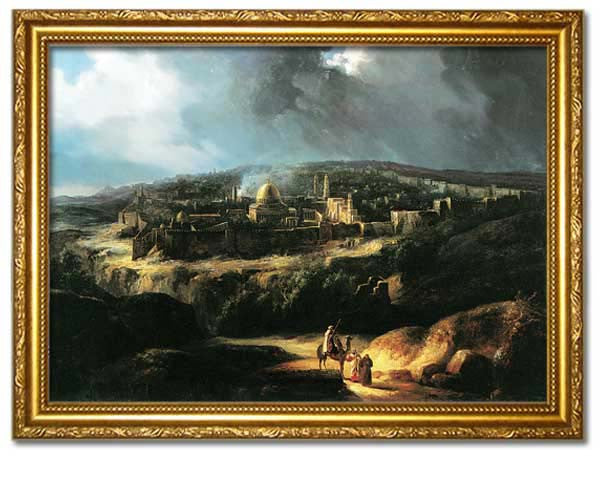 View of Jerusalem near the valley of Jehoshaphat, 1825.  Digitally Enhanced Reproduction of an Oriental painting by Auguste De Forbin. Faux Canvas Frame.