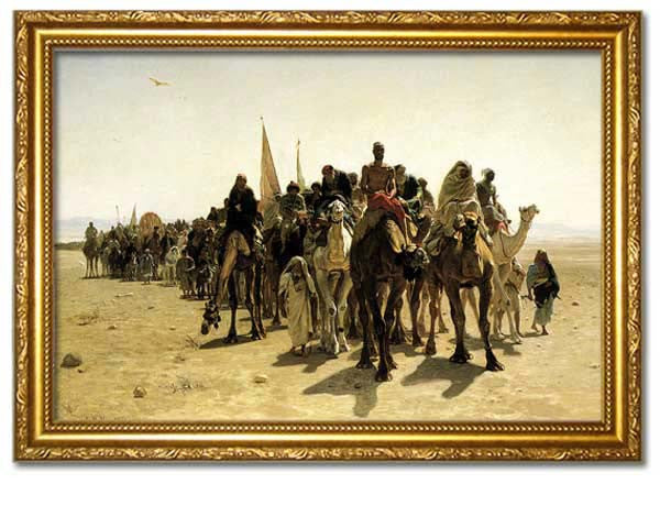 PILGRIMS GOING TO MECCA, 1861.  Digitally Enhanced Reproduction of an Oriental painting by Leon Belly. Faux Canvas Frame.