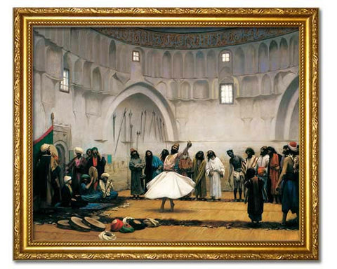 The Whirling Dervishes, 1899.  Digitally Enhanced Reproduction of an Oriental painting by Jean Leon Gerome. Faux Canvas Frame.