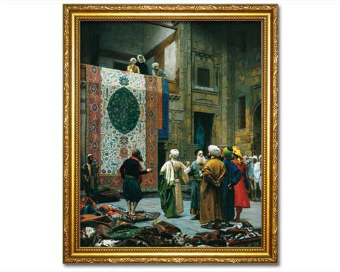 The Carpet Merchant, 1887. Faux Canvas Frame.  Digitally Enhanced Reproduction of an Oriental painting by Jean Leon Gerome.