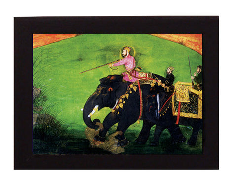 LION HUNT. Mughal India. Overall frame size 6 x 8 inches.