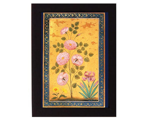 Study of Rose Flowers. Mughal India. Overall frame size 6 x 8 inches.