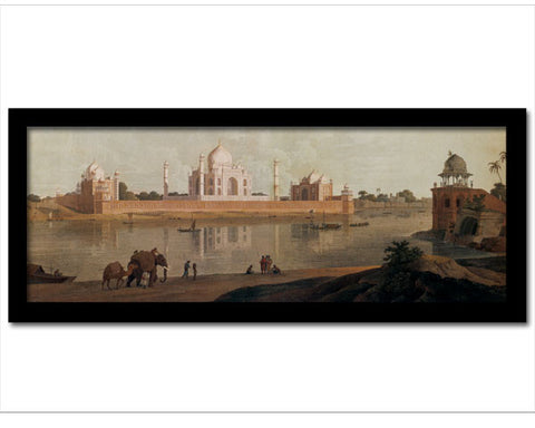 Framed Faux Canvas Print: Taj Mahal Viewed from Across the River.  Overall Size 19 x 7.75 inches