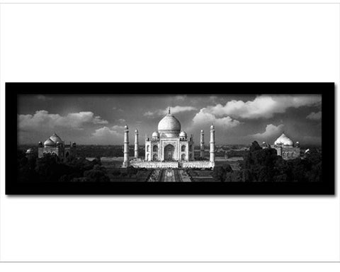 Framed Faux Canvas Print: Taj Mahal on a Cloudy Day. Black and White photo print.  Overall Size 19.5 x  7.5inches