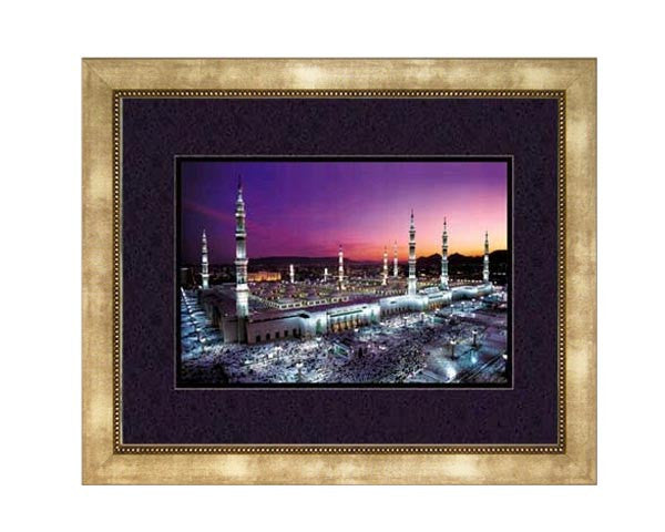 The Prophet`s Mosque at Medina.  Faux Canvas. Overall Frame Size 20 x 24 inches