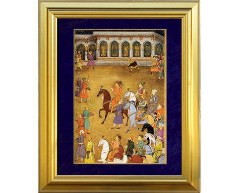The Wedding Procession of Prince Dara Shikoh, Agra, Palace Courtyard.  Digitally Enhanced Reproduction of a Museum Quality Masterpiece painted around 1635 by Murar. JUMBO Faux Canvas Frame. Overall Size 28 x 34 inches.