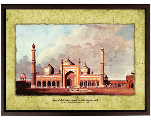 View of the Courtyard and Iwan of the Jama Masjid, Delhi, India.  Digitally Enhanced Reproduction of a Museum Quality Masterpiece. Faux Canvas Frame. Overall Size 12 x 15 inches .