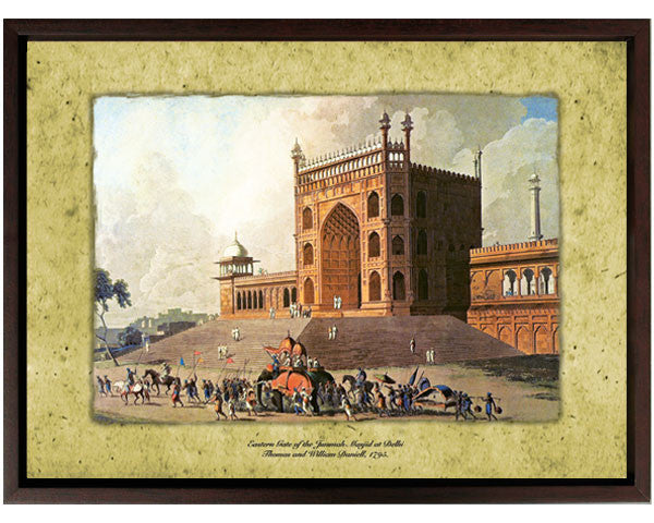 Eastern gate of the Jama Masjid, Delhi.  Digitally Enhanced Reproduction of a Museum Quality Masterpiece. Faux Canvas Frame. Overall Size 12 x 15 inches .