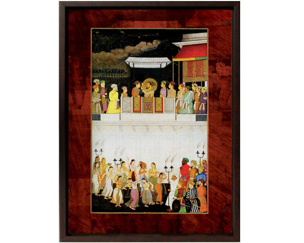 Shah Jahan Honors Prince Dara Shikoh at His Wedding. Digitally Enhanced Reproduction of a Museum Quality Masterpiece. Faux Canvas Frame. Overall Size 12 x 15 inches.