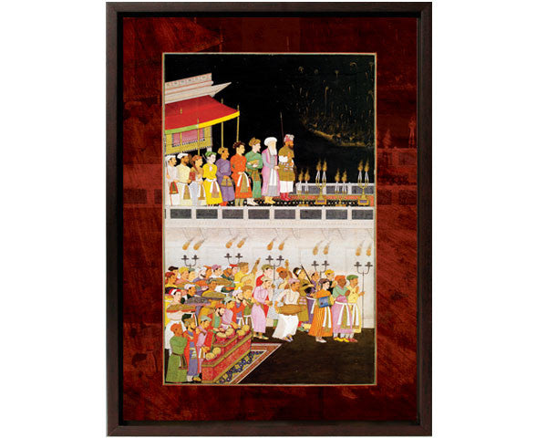 Courtiers watch as Shah Jahan Honors Prince Dara Shikoh at His Wedding.  Digitally Enhanced Reproduction of a Museum Quality Masterpiece. Faux Canvas Frame. Overall Size 12 x 15 inches.
