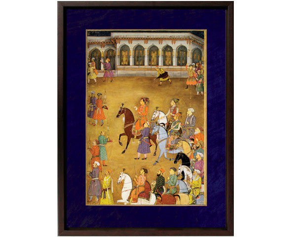 The Wedding Procession of Prince Dara Shikoh, Agra, Palace Courtyard.  Digitally Enhanced Reproduction of a Museum Quality Masterpiece painted around 1635 by Murar. Overall Size 12 x 15 inches.