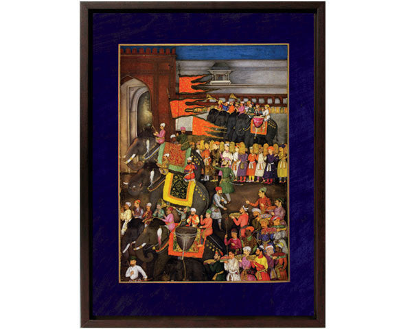 Muscicians on Elephants Lead the Wedding Procession of Prince Dara Shikoh.  Digitally Enhanced Reproduction of a Museum Quality Masterpiece painted around 1640. Overall Size 12 x 15 inches.