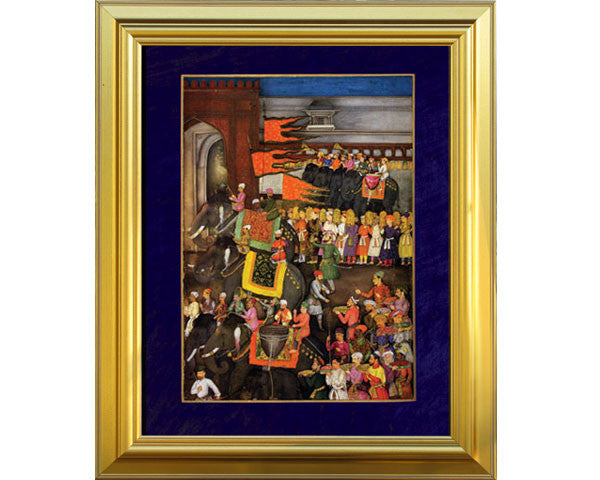 Muscicians on Elephants Lead the Wedding Procession of Prince Dara Shikoh.  Digitally Enhanced Reproduction of a Museum Quality Masterpiece painted around 1640. JUMBO Faux Canvas Frame. Overall Size 28 x 34 inches.