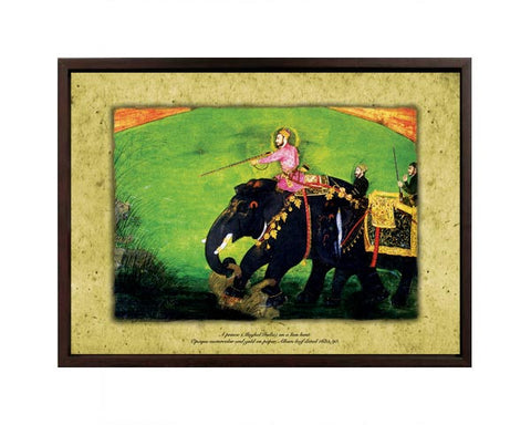 A Prince (Mughal India) on a Lion Hunt.   Digitally Enhanced Reproduction of a Museum Quality Masterpiece. Faux Canvas Frame. Overall Size 12 x 15 inches.