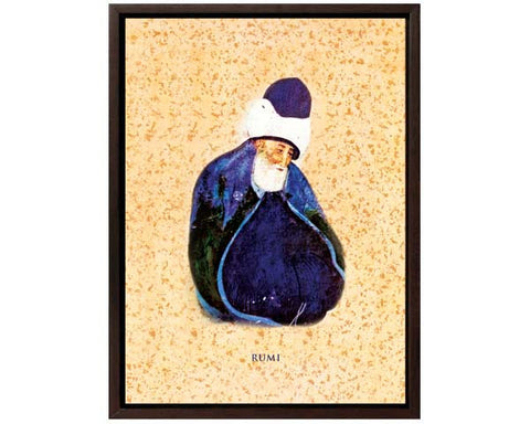 A Historic Portrait Of Maulana Jalaluddin Rumi. Digitally Enhanced  Reproduction of a Museum Quality Masterpiece. Faux Canvas Frame. Overall Size 12 x 15 inches.