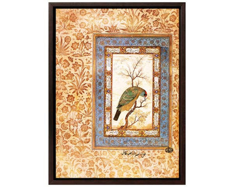 A Himalayan Blue Throated Barbet. Digitally Enhanced Reproduction of a Museum Quality Masterpiece.  Faux Canvas Frame. Overall Size 12 x 15 inches .