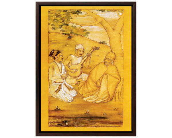 Mughal Prince Dara Shikoh Visits A Sufi Saint.  Digitally Enhanced Reproduction of a Museum Quality Masterpiece. Faux Canvas Frame. Overall Size 12 x 15 inches .