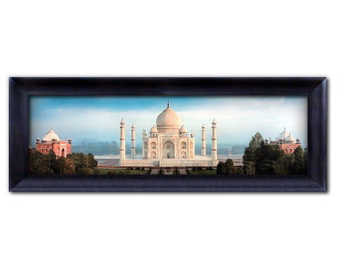 LARGE FRAME. Framed Faux Canvas Print: Full Color Contemporary Panoramic View of Taj Mahal.