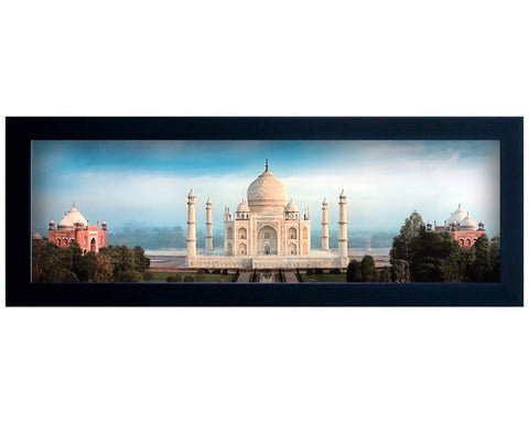 Framed Faux Canvas Print: Full Color Contemporary Panoramic View of Taj Mahal.  Overall Size 19.5  x 7.5 inches