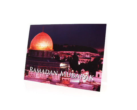 BOX OF 10 RAMADAN MUBARAK GREETING CARDS. Depicting The Dome of the Rock in Jerusalem (Haram Sharif) .