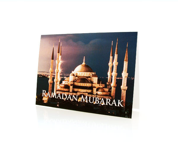 BOX OF 10 RAMADAN MUBARAK GREETING CARDS. Depicting The Blue Mosque in Istanbul, Turkey.