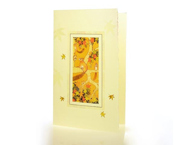 Squirrels On A Chenar Tree. BOX OF 10 BLANK GREETING CARD.  Special Feather Edge paper and matching envelope.