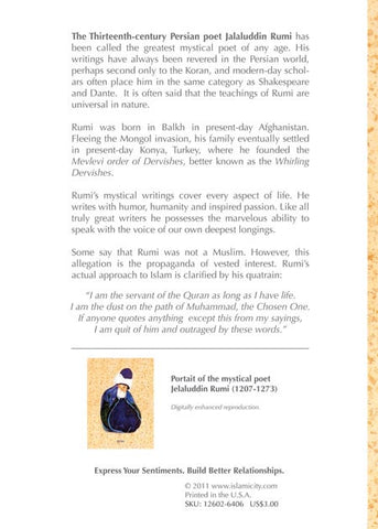Potrait Of Sufi Poet Jalaluddin Rumi.  Box of 10 SUFI WISDOM Cards with Matching Envelops.