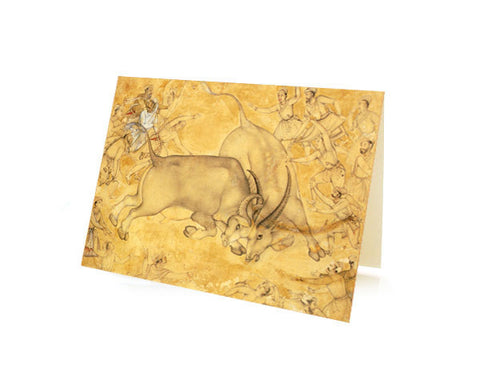 Buffaloes in combat. BLANK GREETING CARD. BOX OF 10.