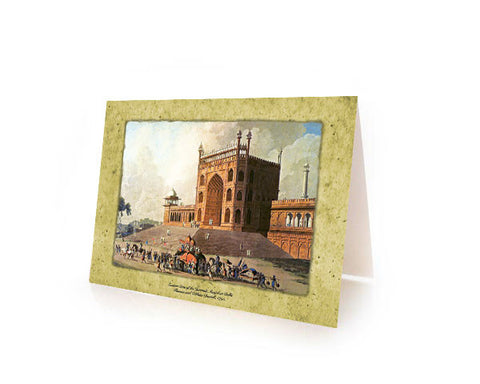RAMADAN & EID GREETING CARDS. Eastern Gate of the Jama Masjid, Delhi.  Printed on SPECIAL Metallic Paper with an Iridescent Pearl finish.