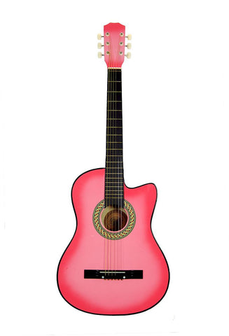 Pink 38in Acoustic Cutaway Guitar - Pinkoz