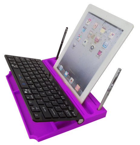 6 in 1 Stand Organizer Bluetooth Keyboard Black On Purple