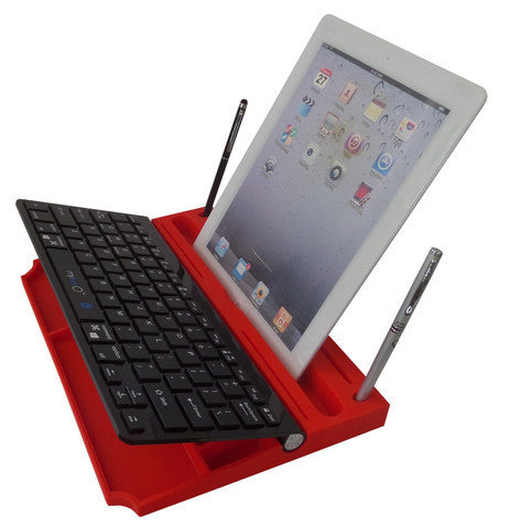6 in 1 Stand Organizer Bluetooth Keyboard Black On Red - Pinkoz